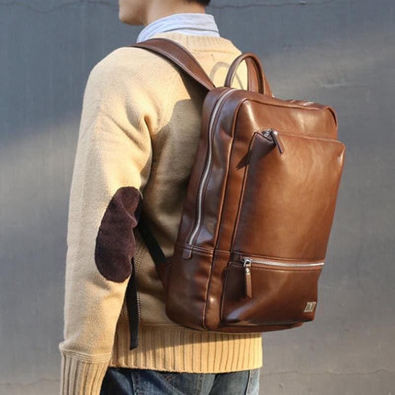 Leather Travel Rucksack and Laptop Bag |