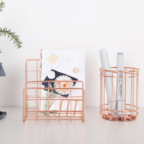 The Nordic Rose Gold Stainless Steel Desk Organizers
