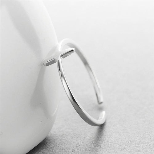 925 Sterling Silver Minimalist Cross Ring, , Gifts for Designers, Clean minimal gifts for designers and creatives, gift, design, designer - Gifts for Designers, Gifts for Architects