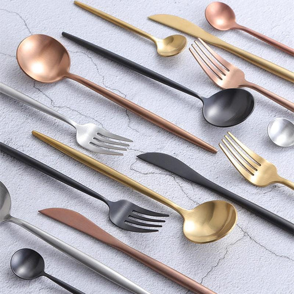 24pcs Minimalist Rose Gold Stainless Steel Cutlery Set, , Gifts for Designers, Clean minimal gifts for designers and creatives, gift, design, designer - Gifts for Designers, Gifts for Architects