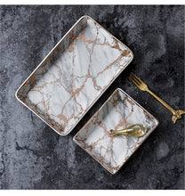 Nordic Gold Marble Pattern Ceramic Plates, , Gifts for Designers, Clean minimal gifts for designers and creatives, gift, design, designer - Gifts for Designers, Gifts for Architects