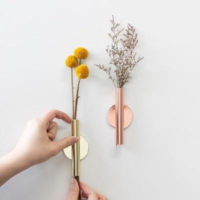 Minimal Rose Golden Stainless Steel Wall Mount Vase with Magnetic Flowerpot, , Gifts for Designers, Clean minimal gifts for designers and creatives, gift, design, designer - Gifts for Designers, Gifts for Architects