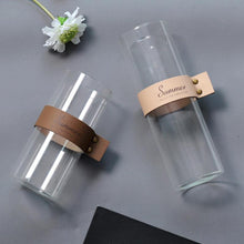 Nordic Style Leather and Glass Transparent Tabletop Vase, , Gifts for Designers, Clean minimal gifts for designers and creatives, gift, design, designer - Gifts for Designers, Gifts for Architects