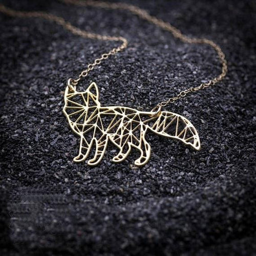Geometric Origami Inspired Fox Necklace