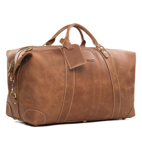 Vintage Style Genuine Leather Large Capacity Duffel Bag | Leather Travel Bag