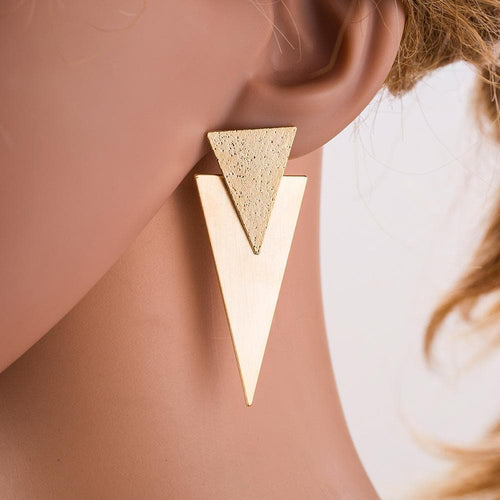 Geometric Double Solid Triangle Earrings