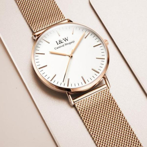 I&W UltraThin Minimalist Watch with Steel Mesh Band, , Gifts for Designers, Clean minimal gifts for designers and creatives, gift, design, designer - Gifts for Designers, Gifts for Architects