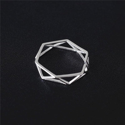 925 Solid Sterling Silver Polygon Ring