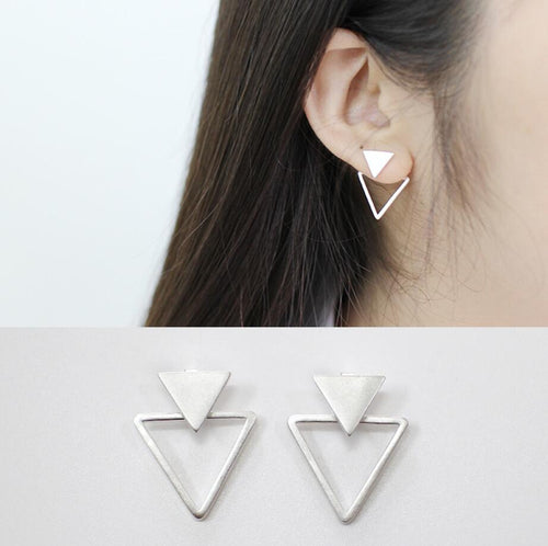 925 Sterling Silver Matte Triangle Stud Earrings