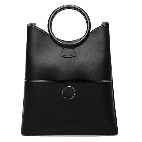 Minimalist Geometric PU Leather Handbag | Designer Leather Handbag