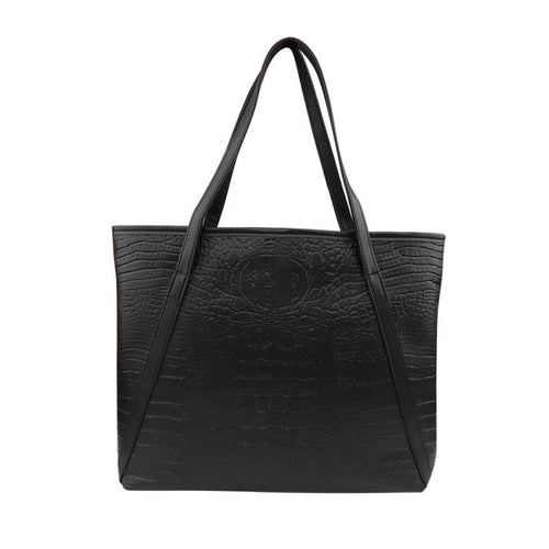 Glossy PU Leather V Strap Tote Bag and Purse