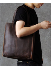 Vintage Crazy Horse Leather Handbag | Genuine Leather Tote Bag