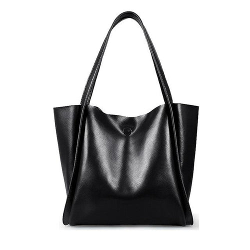 Glossy Leather Loose Minimalist Tote Bag