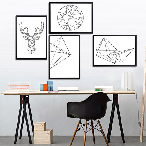 Modern Nordic Minimalist Black White Geometric Shapes Wall Art