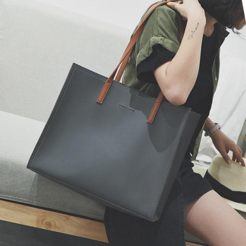 Minimalist Large Capacity Vegan Leather Tote Bag, , Gifts for Designers, Clean minimal gifts for designers and creatives, gift, design, designer - Gifts for Designers, Gifts for Architects