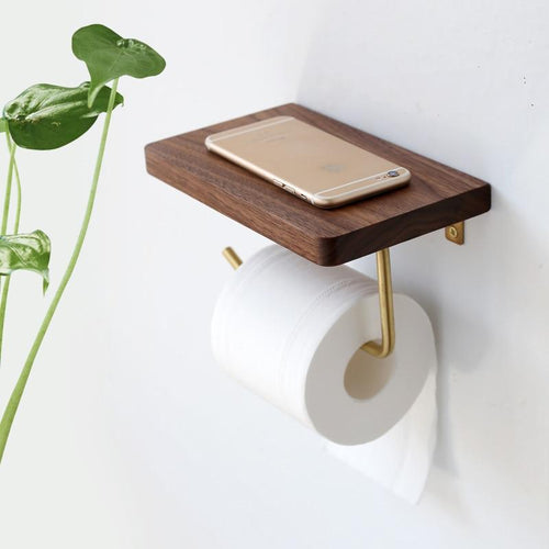 Nordic Style Wood and Brass Tissue Paper Roll Holder