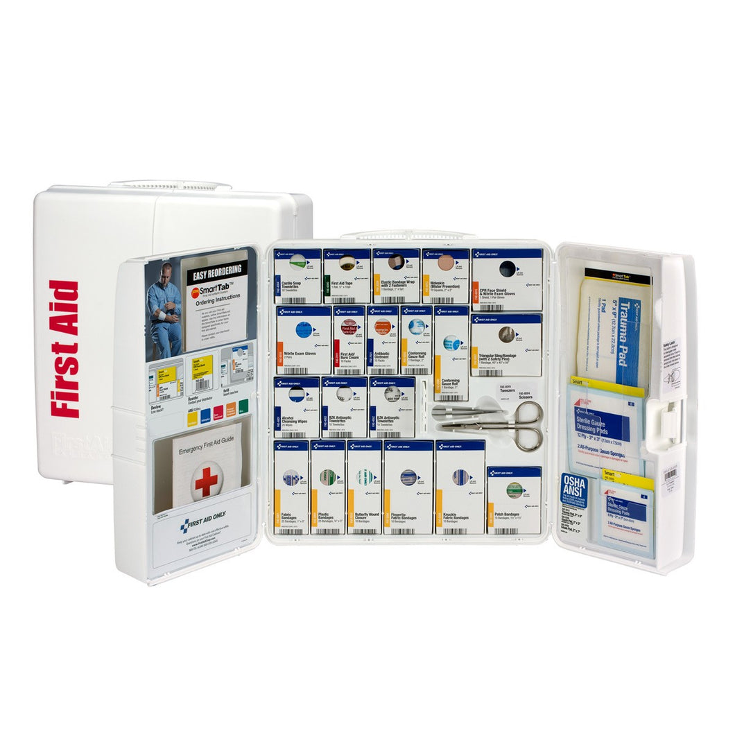 General Business First Responder Kit - ANSI 2015 Metal Cabinet SmartCompliance for 25 People, 94 Pieces without Medications - CaretacticsCPR