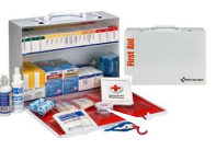 General Business First Aid Kit - ANSI 2015 Metal Cabinet SmartCompliance for 75-100 People, 446 Pieces with Medications - CaretacticsCPR