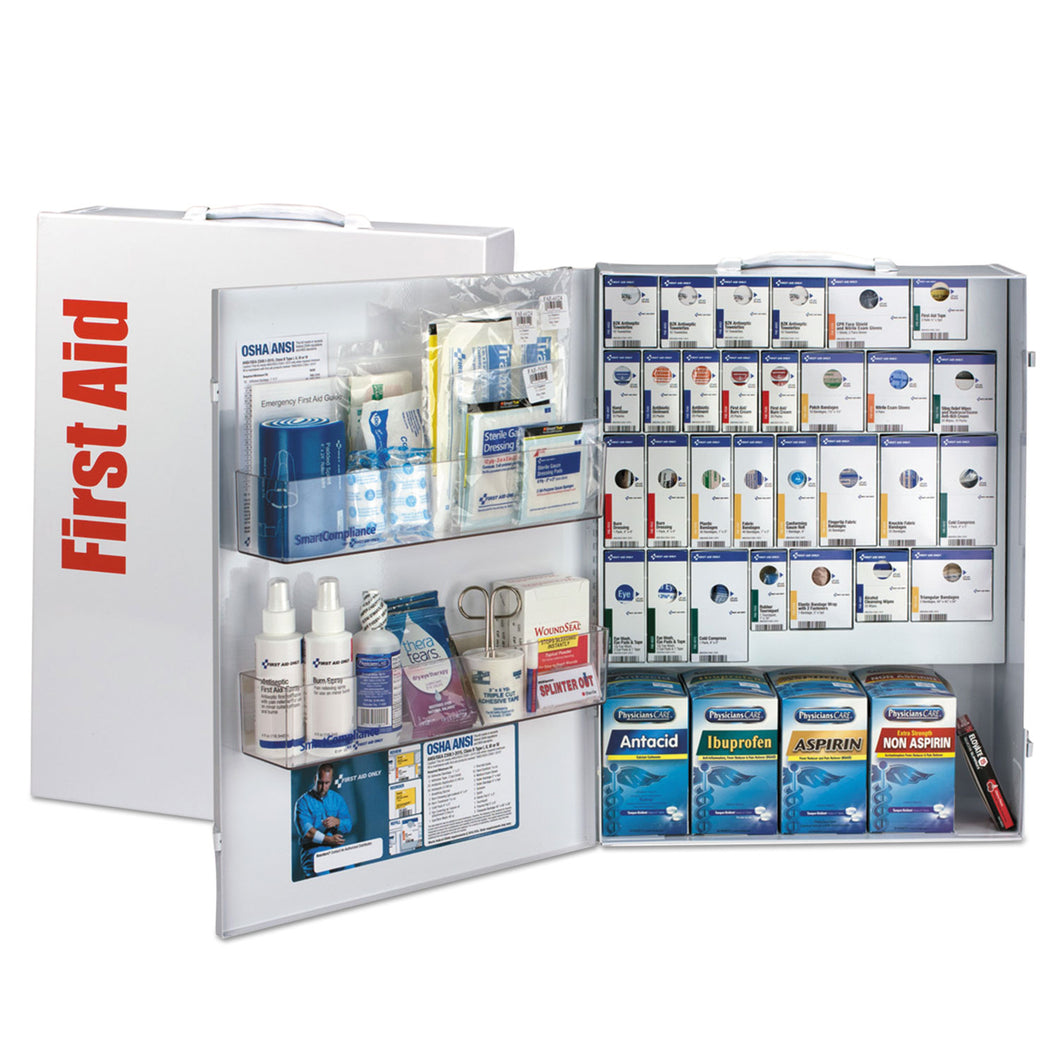 General Business First Aid Kit - ANSI 2015 SmartCompliance for 150 People, 925 Pieces with Medications - CaretacticsCPR