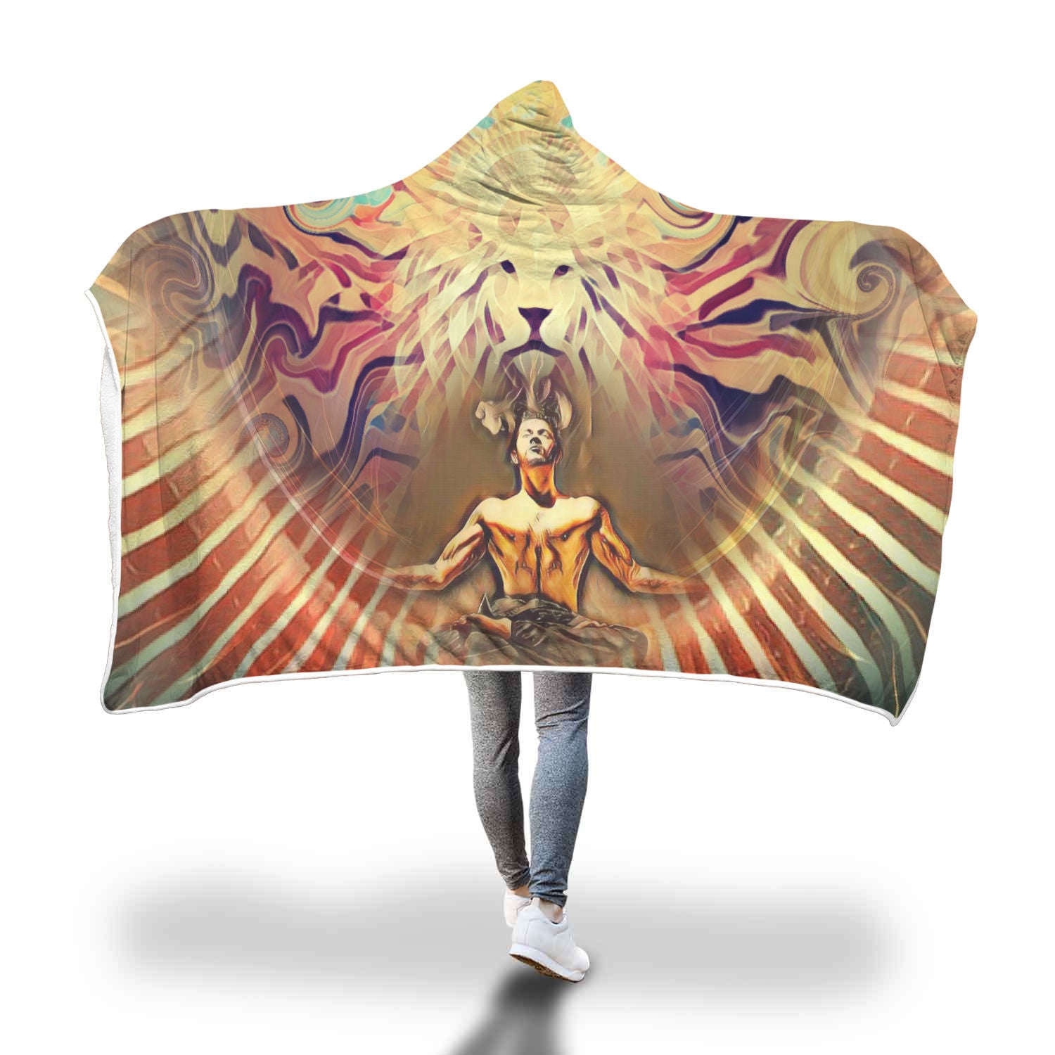 Lion's Vibes - Hooded Blanket_artist-Carlo-Bressan_Breathing-Wellness