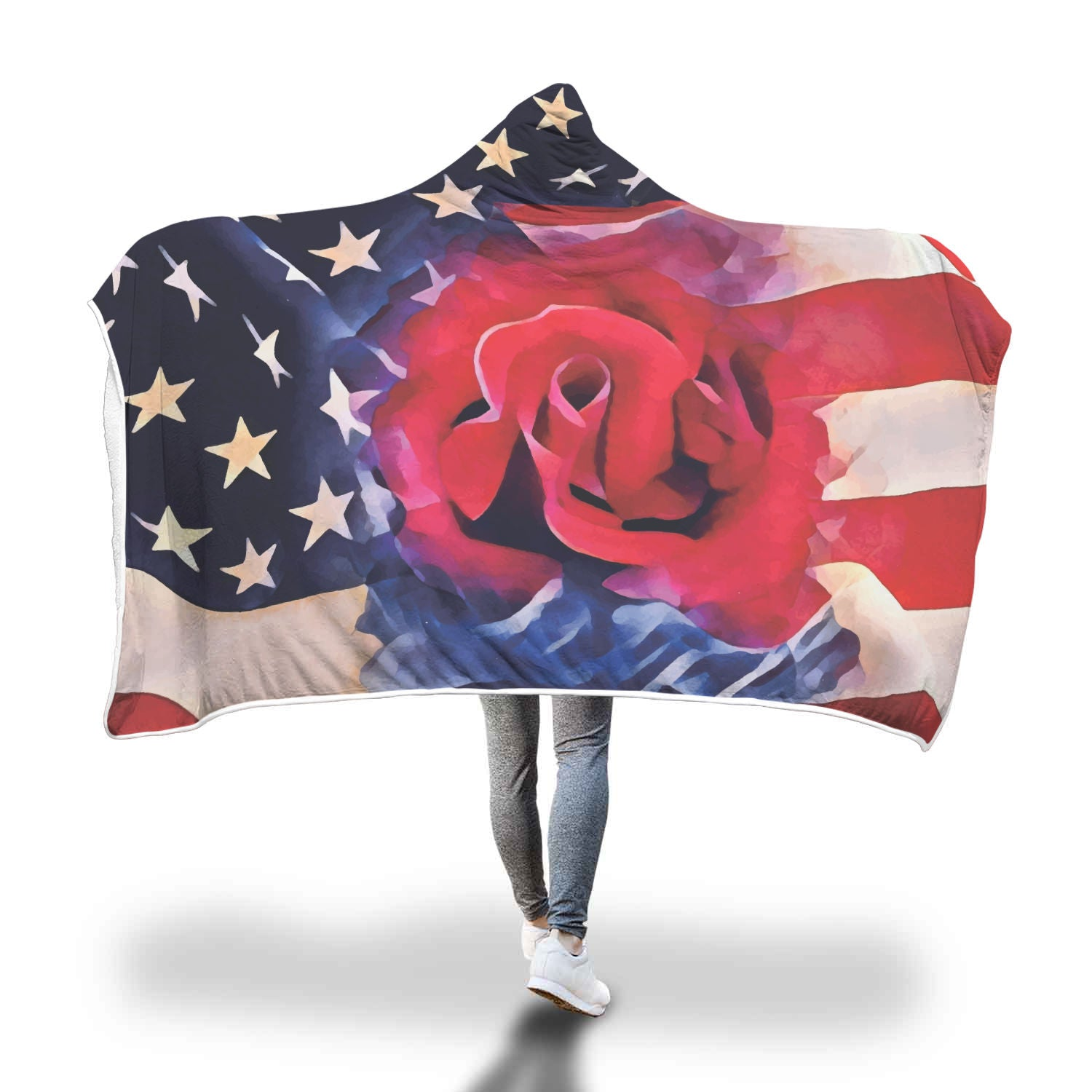 Red & Blue a Rose For You - American Flag Hooded Blanket