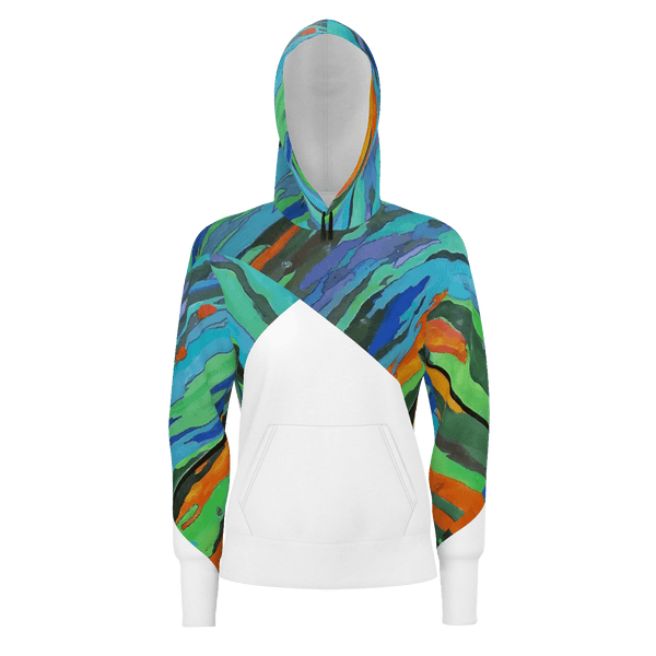 Rainbow Tree - Women's Warm Pullover Hoodie 100% Cotton (350gsm)_artist-Carlo-Bressan_Breathing-Wellness