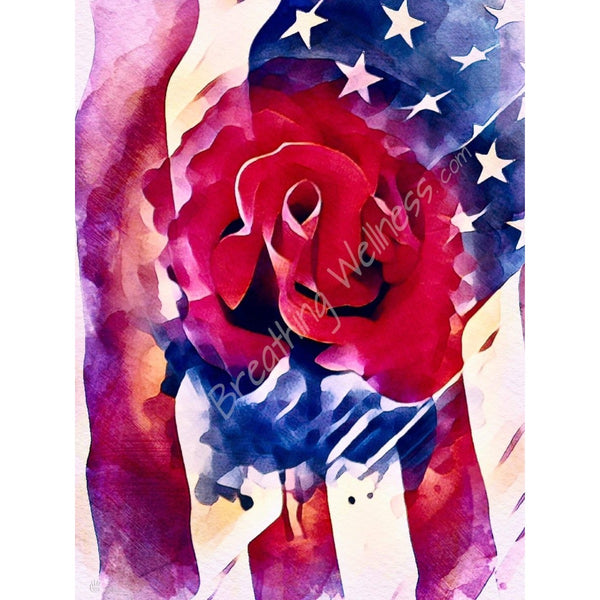 American Flag Portrait - Red & Blue, a Rose For You - Large Size Wall Art_artist-Carlo-Bressan_Breathing-Wellness