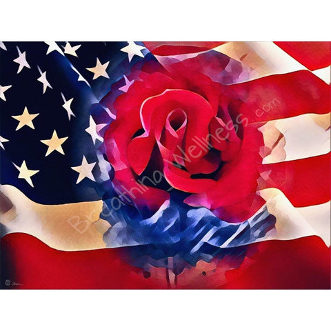 American Flag - Red & Blue, a Rose For You - Big Size Wall Art_artist-Carlo-Bressan_Breathing-Wellness
