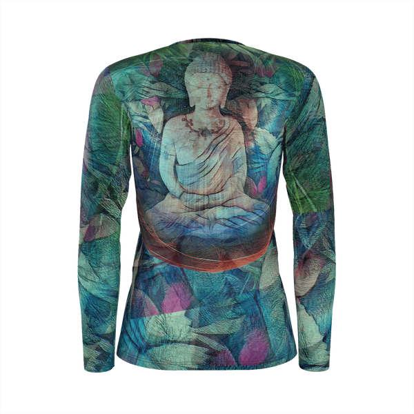 Buddha Space - Deluxe Long Sleeve T-Shirt 100% Pima Cotton_artist-Carlo-Bressan_Breathing-Wellness