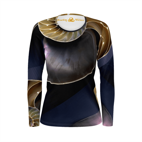 Golden Lady - Deluxe Long Sleeve T-Shirt 100% Pima Cotton_artist-Carlo-Bressan_Breathing-Wellness