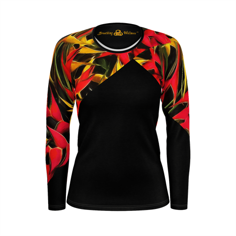 Hawaiian Classic - Deluxe Women's Long Sleeve T-Shirt 100% Pima Cotton_artist-Carlo-Bressan_Breathing-Wellness