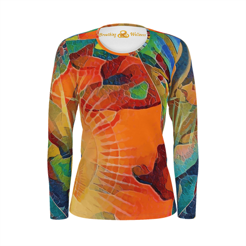 I Feel Sparkly - Deluxe Long Sleeve Hawaiian T-Shirt 100% Pima Cotton_artist-Carlo-Bressan_Breathing-Wellness