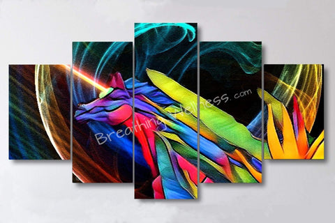 Lightsaber Unicorn - 5 Piece Canvas Wall Art Set-Breathing Wellness