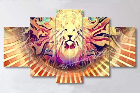 "Lion's Royal Rays- 5 Piece Canvas Wall Art Set - 40""x80"" Large Size Wall Art_artist-Carlo-Bressan_Breathing-Wellness"