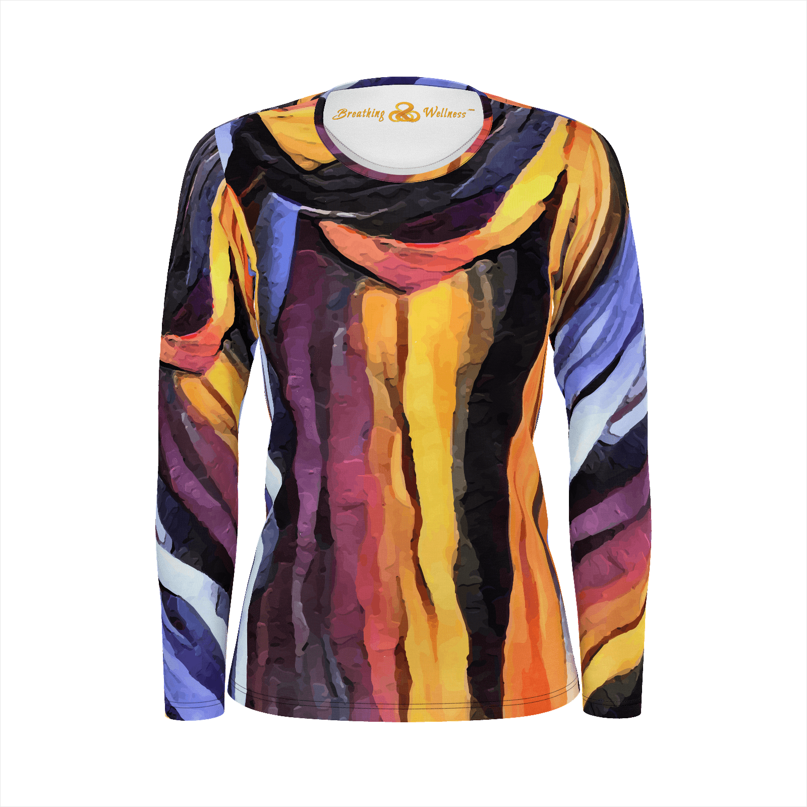 Natural Woman - Deluxe Long Sleeve T-Shirt 100% Pima Cotton_artist-Carlo-Bressan_Breathing-Wellness