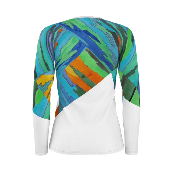 Rainbow Tree - Deluxe Women's Long Sleeve T-Shirt 100% Pima Cotton_artist-Carlo-Bressan_Breathing-Wellness