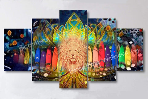"Surfers Lion's Gate - 5 Piece Canvas Wall Art Set - 32""x60""/40""x80"" Big Size Canvas_artist-Carlo-Bressan_Breathing-Wellness"