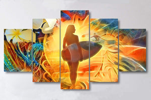 "Surfer's Sunset - 5 Piece Canvas Wall Art Set - 40""x80"" Big Size Artwork_artist-Carlo-Bressan_Breathing-Wellness"