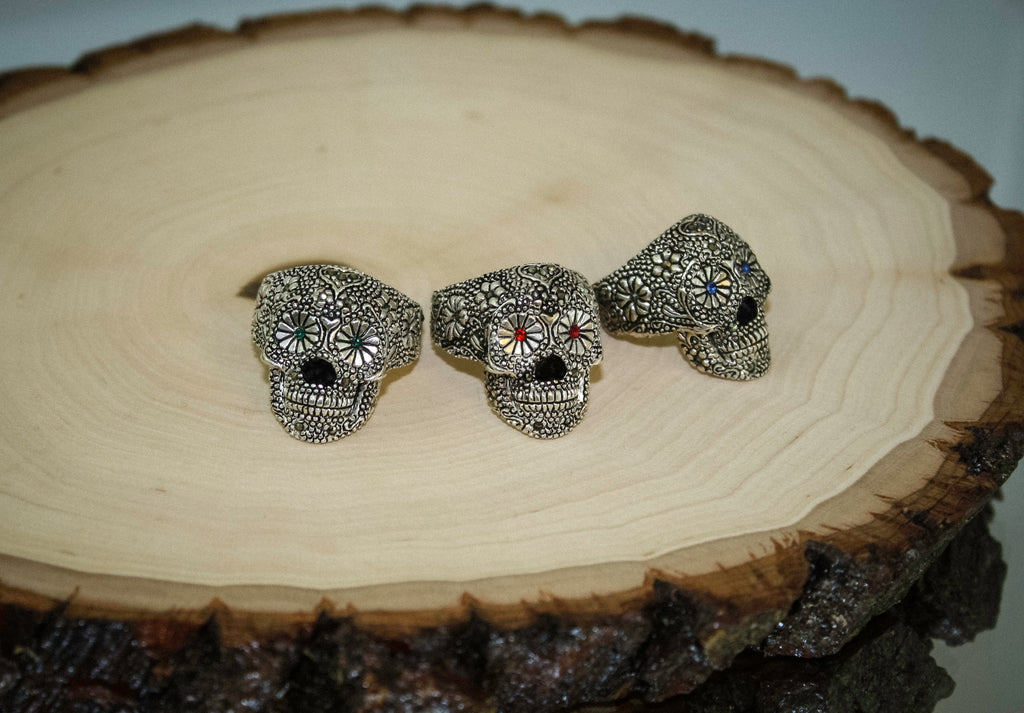 925 taxco mexican silver sugar skull ring with green eyes aloadofball Gallery