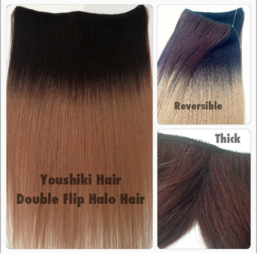 Flip in Halo Hair Piece Reversable