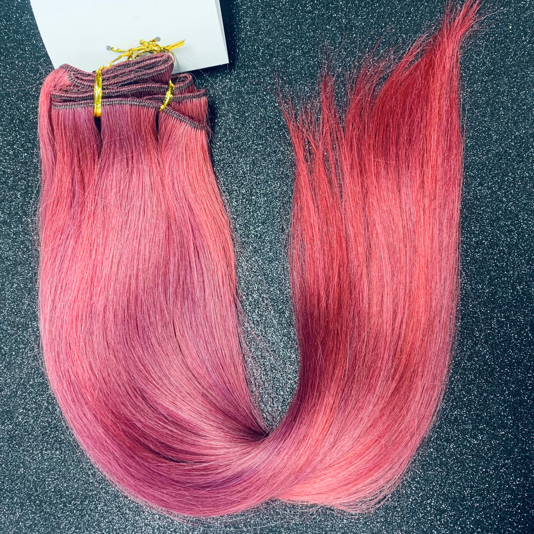 "20"" Training Weft Human Hair 125gram #mixed berry"