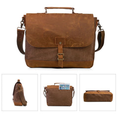 ECOSUSI Canvas Laptop Bag Briefcase Handbag  Shoulder Bag with Padded Compartment for 15.6