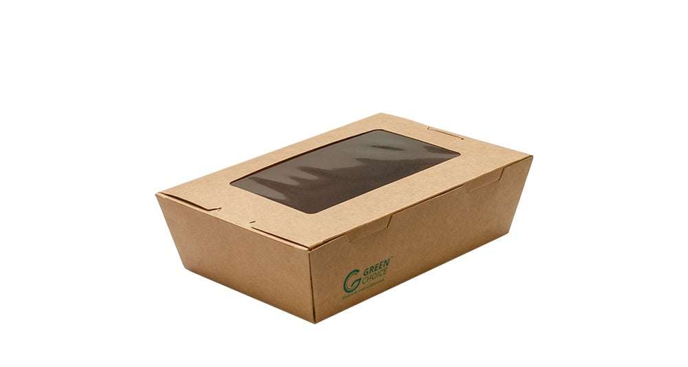 Compostable Kraft Takeaway Carton with PLA window (Small, Medium, Large)