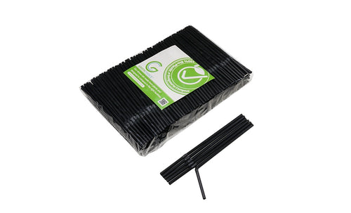 Compostable PLA Black Cocktail Straws 4mm x 150mm