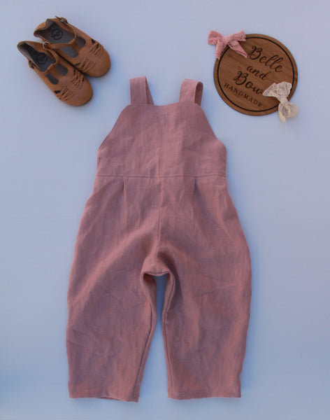 Slouchy Blush Pink Linen Overalls