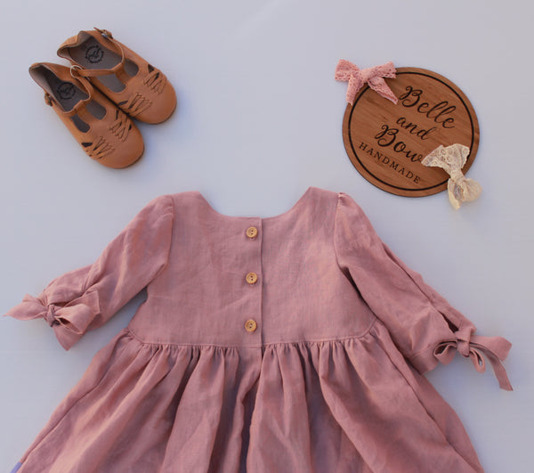 Blush Pink Linen Bristol Dress