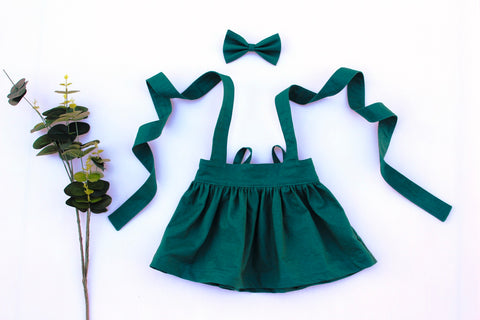 Bottle Green Suspender Skirt