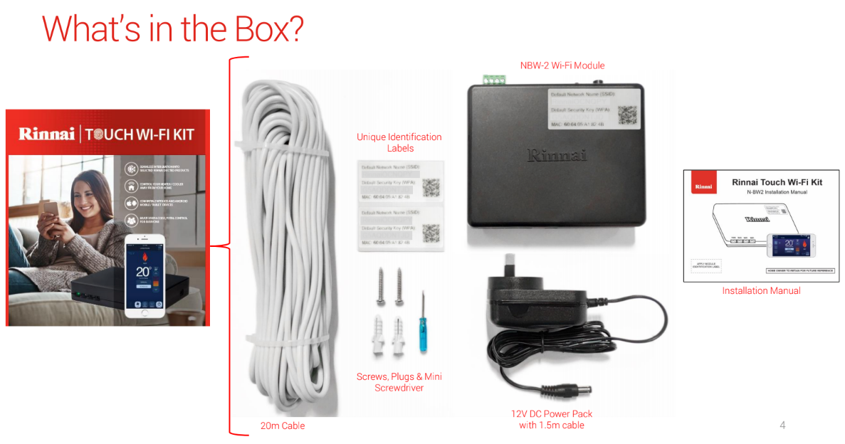 Brivis Rinnai WiFi Kit Parts - What's in the box