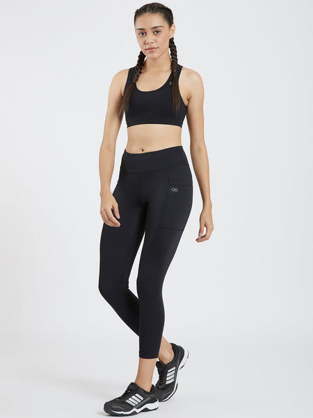 Ankle Length Black Pockets Active Leggings