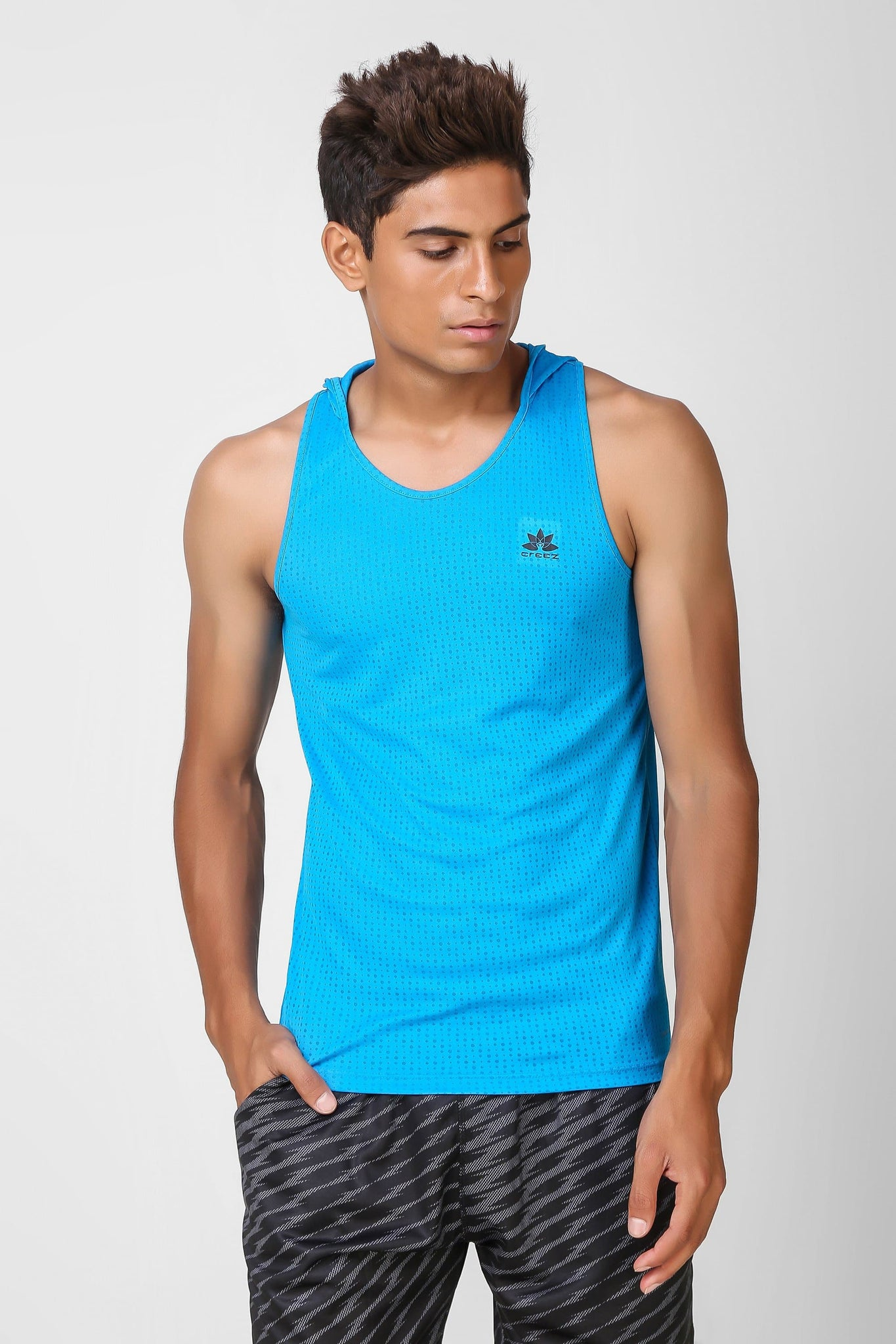 Active Hooded Sleeveless Deep Sky Blue T-shirt